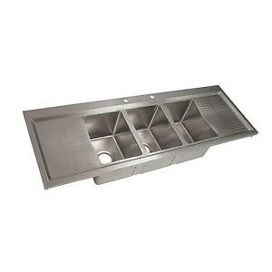 Bk Resources Three Compartment 58 1 8 Stainless Steel Drop in Sink