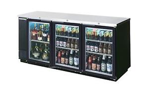 Beverage air 72in Galvanized Top Sliding Glass Door Back bar Refrigerator