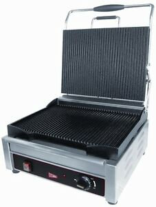 Gmcw Sg1lg Commercial Single Panini Grill 14 X 11 Grooved Surface