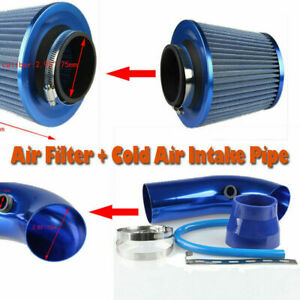75mm 3 Ram Cold Air Intake Filter Pipe Filter Tube Hose Blue Fuel Save Power