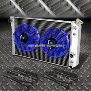 3 Row Aluminum Radiator 2x 9 Fan Blue For 82 02 Chevy S10 Blazer Corvette V8