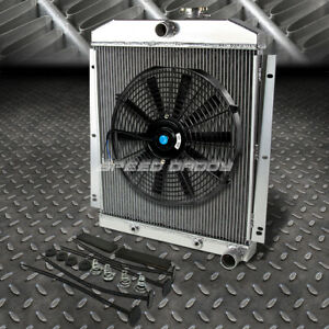 3 row Aluminum Radiator 1x 16 fan Black For 47 54 Chevy 3100 3600 3800 Pickup L6