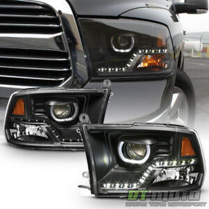 Black 2009 2018 Dodge Ram 1500 2500 3500 Drl Led Projector Halo Headlights Lamps