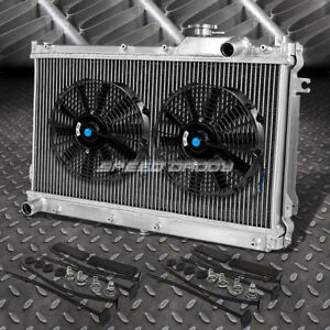 2 Row Aluminum Radiator 2x 12 Fan Kit For Jdm 90 97 Mazda Miata Mx5 Na B6ze