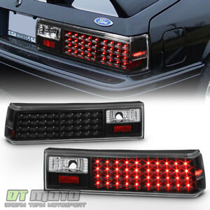 Black 1987 1993 Ford Mustang Led Tail Lights Brake Lamps 87 93 Left Right Pair