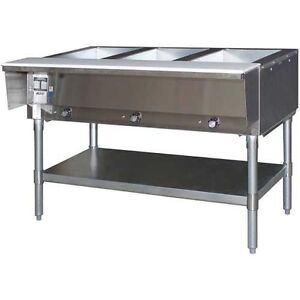 Eagle Group Dht3 120 Stainless Steel Electric 3 Well Open Base Hot Food Table