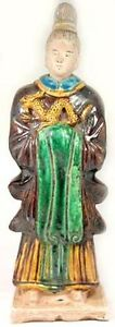 1600ad Antique Ming China X Large Glazed Multi Color Sancai Statuette W Dragon