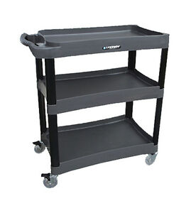 Lakeside 2507 35 3 4 wx18 3 8 dx39 h 3 Tier Bus Cart Black