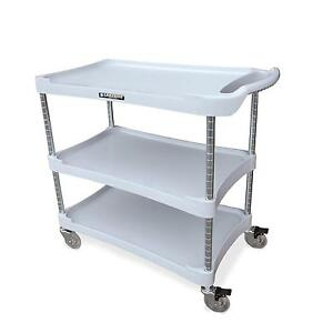 Lakeside 2509 36 wx18 1 2 dx35 h 3 Tier Bus Cart Light Grey