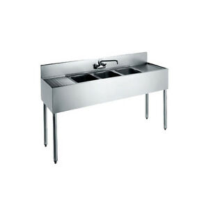 Krowne Metal Cs 1872 72 Three Compartment Convenience Store Sink