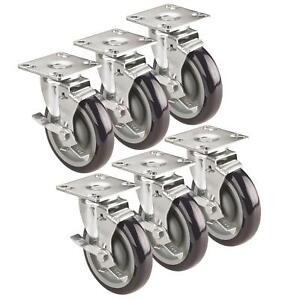 Krowne Metal Bc 135 3 Ultra Low Profile Casters With Brakes Set Of 6