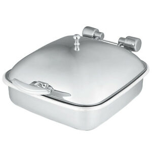 Vollrath 46133 6qt Square Solid Top Induction Chafer W Porcelain Food Pan