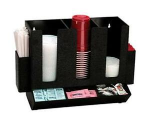 Dispense rite Hlco 3bt Countertop Cup Lid Straw And Condiment Organizer Black