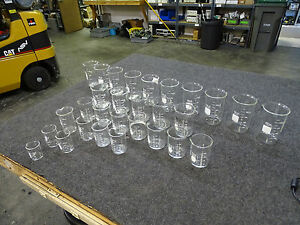 Lot Of 29 Pyrex Kimax Beakers 500 400 250 200 150 100 50 Ml
