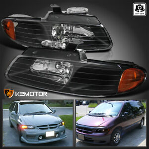 1996 2000 Dodge Caravan Chrysler Town Country Voyager Black Headlights Pair