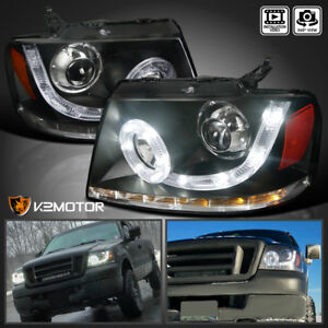For 04 08 F150 06 08 Mark Lt Smd Led Halo Signal Projector Headlights Black