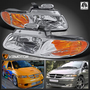 1996 2000 Dodge Caravan Chrysler Town Country Voyager Crystal Clear Headlights