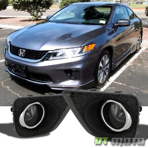 For Smoked 2013 2015 Honda Accord Coupe Glass Lens Bumper Fog Lights Left Right