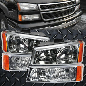 Headlights Set With Clear Lens Chrome 4 piece Fits 03 2006 Chevrolet Silverado