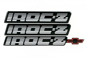 82 92 Camaro Iroc z Silver Rocker Panel Emblem Set Of 3 New iroczembsilver