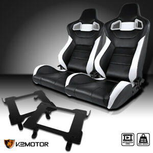 99 04 Ford Mustang Black White Pvc Leather Racing Seats Laser Welded Brackets