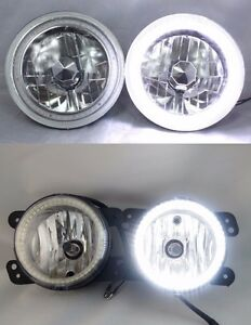 07 16 Jeep Wrangler Tj Jk 7 White Led Smd Halo Headlights Plus Fog Lights Set