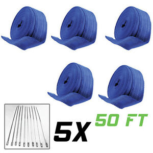 Wholesale Lot 5 X 50ft Blue Thermal Exhaust Header Pipe Heat Wrap Tape ties Kit