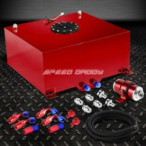 15 Gallon Aluminum Fuel Cell Tank cap feed Line Kit 30 Micron Inline Filter Red