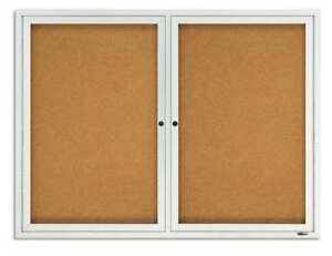 Enclosed Cork Bulletin Board 48 X 36 2 Door Quartet 2124