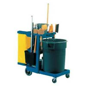 Cleaning Cart blue plastic Rubbermaid Fg617388blue