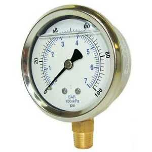 Pressure Gauge liquid 4 In 5000 Psi Pic Gauges 201l 402r