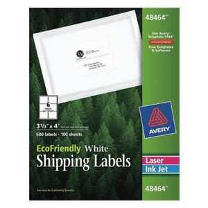 Avery Ecofriendly Shipping Labels 48464 3 1 3 X 4 Box Of 600 Avery 48464