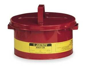 Bench Can 3 Gal galvanized Steel red Justrite 10775