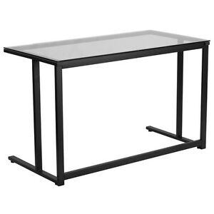 Flash Furniture Glass Executive Office Table Furniture W black Pedestal Frame