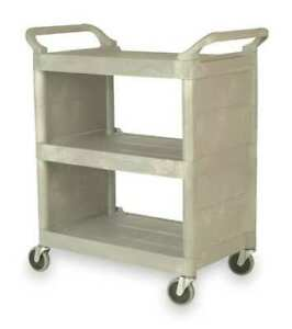 Enclosed Cart poly platinum 300 Lb Rubbermaid Fg335588plat