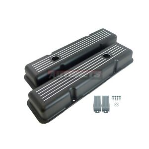 Black Aluminum Short Valve Covers Ball Milled Small Block Chevy 283 305 327 350