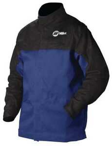Miller Electric 231 086 Combo Weld Jkt Royal blk Ctn leather 4xl