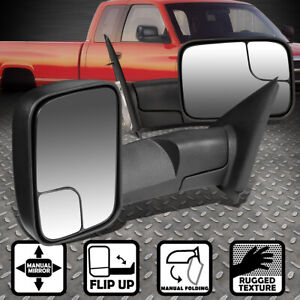 For 02 09 Dodge Ram 1500 3500 Adjust Foldable Rear View Towing Tow Mirror Pair