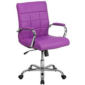 Mid back Black Vinyl Executive Swivel Office Chair With Chrome Arms Purple