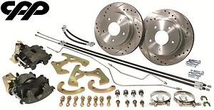 1963 66 Chevy C10 Truck 5 Lug Rear Disc Kit Conversion Package X Drilled Rotors