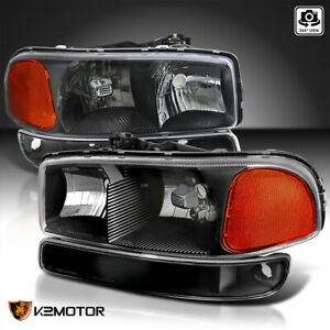 For 1999 2006 Gmc Sierra Yukon Black Headlights Bumper Signal Lamps Left Right