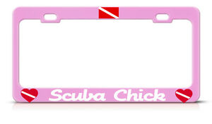 Scuba Chick License Plate Frame Love Scuba Diving Pink Princess Tag Border Metal