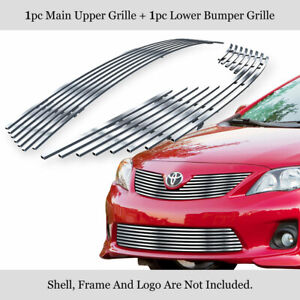 Fits 2011 2013 Toyota Corolla 304 Stainless Steel Billet Grille Combo