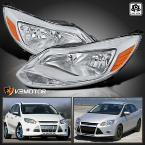 For 2012 2014 Ford Focus S Se Clear Replacement Headlights Lamps Left right Pair