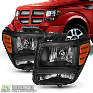 Blk 2007 2011 Dodge Nitro Headlights Headlamps Aftermarket Left Right 07 11 Set