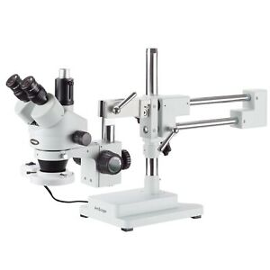3 5x 180x Simul focal Fluorescent Stereo Zoom Microscope On Dual Arm Boom Stand