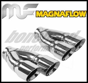 Magnaflow Tip Double Wall Round Dual Outlet Polish 3in Dia 2 25in Inlet 9 75in