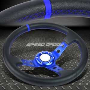 350mm 3 Deep Dish 6 Bolt Blue Vinyl Leather Aluminum Racing Steering Wheel
