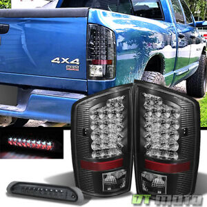 Black 2002 2006 Dodge Ram Led Tail Lights smoked Led 3rd Brake Lamp Left right