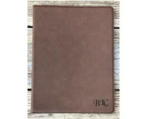 Personalized Portfolio Brown Leatherette Engraved Free Padfolio Journal Note Pad